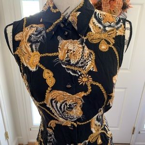 Escada Tiger & Chains Print Top